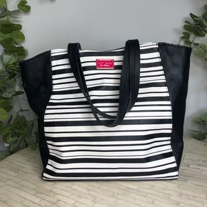 Betsy Johnson Striped Tote Black and White